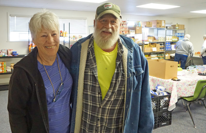 Carrol and Don at the food pantry