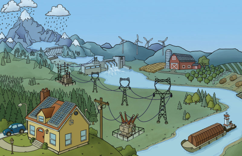Illustration of clouds raining over mountains near a river with a hydroelectric dam, with power lines on the land beside a house.